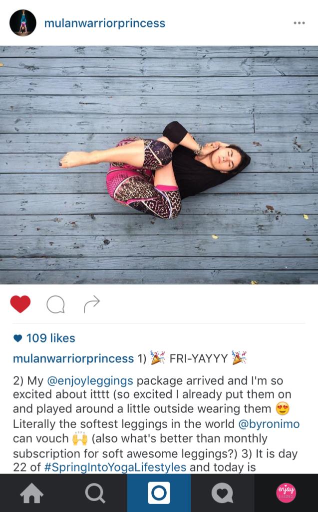 enjoy leggings brand ambassador